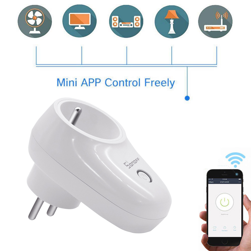 Sonoff S26 WiFi Smart Socket Wireless <font><b>Plug</b></font> Power Sockets Smart Home Switch For <font><b>EU</b></font>/US/UK/<font><b>CN</b></font>/AU Wireless Socket image