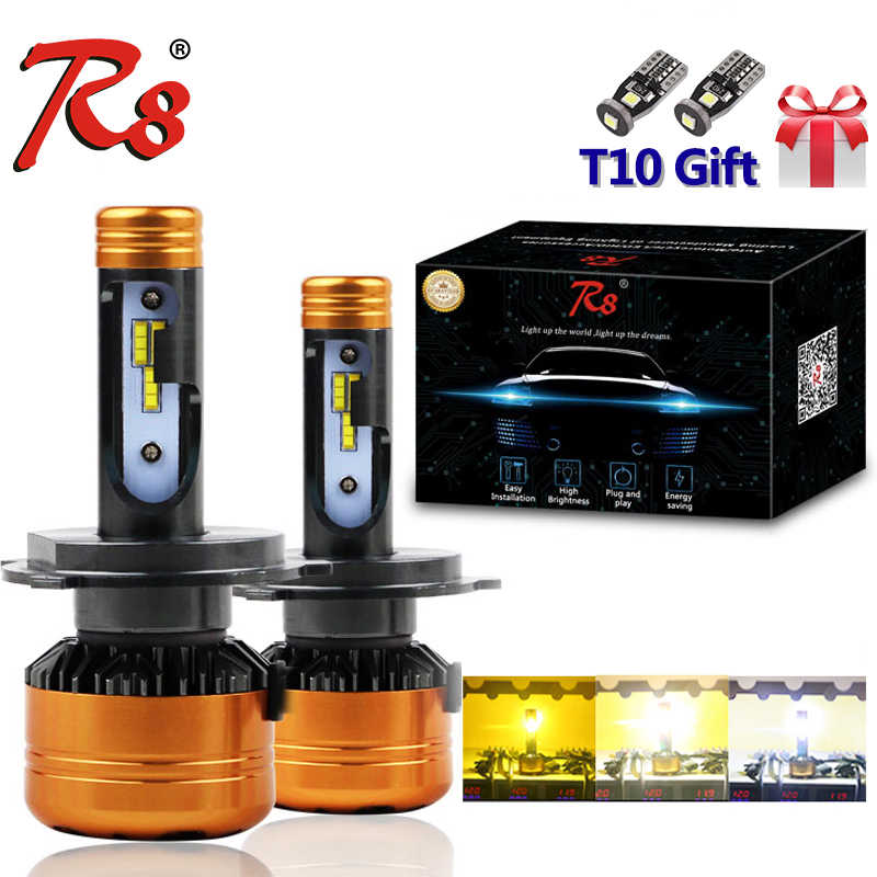 R8 New Design Z5 Dual Color Tricolor Car LED Headlight Bulbs H4 H13 9004 9007 50W 5800LM 3000K 4300K 6000K Good Quality 3-Colors