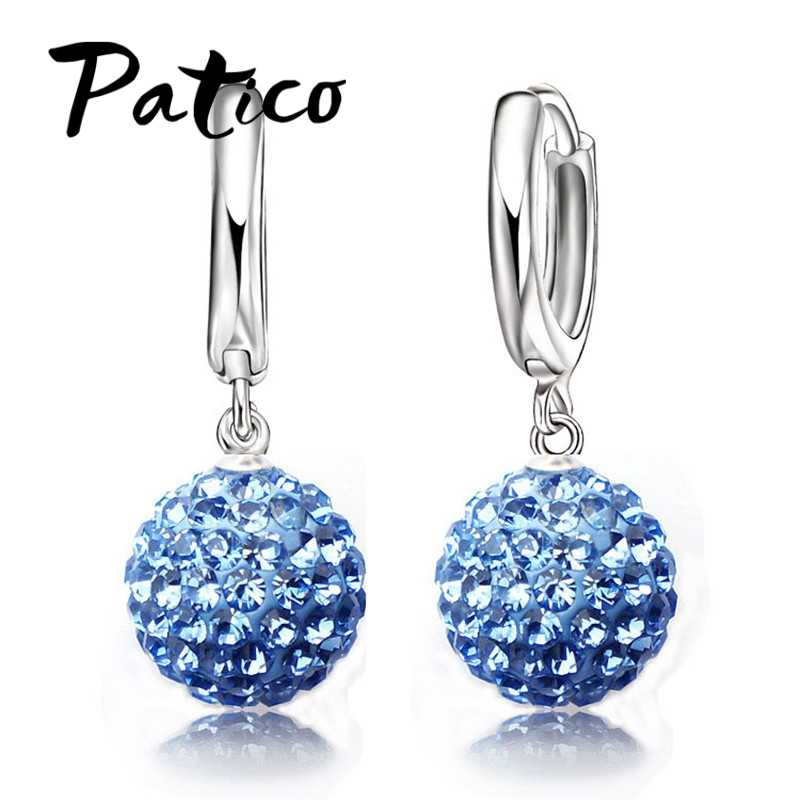 Hot Sale Multi Colors 1 Pair Real Pure 925 Sterling Silver Austrian Pave Disco Ball Hoop Lever back Earring Woman Jewelry