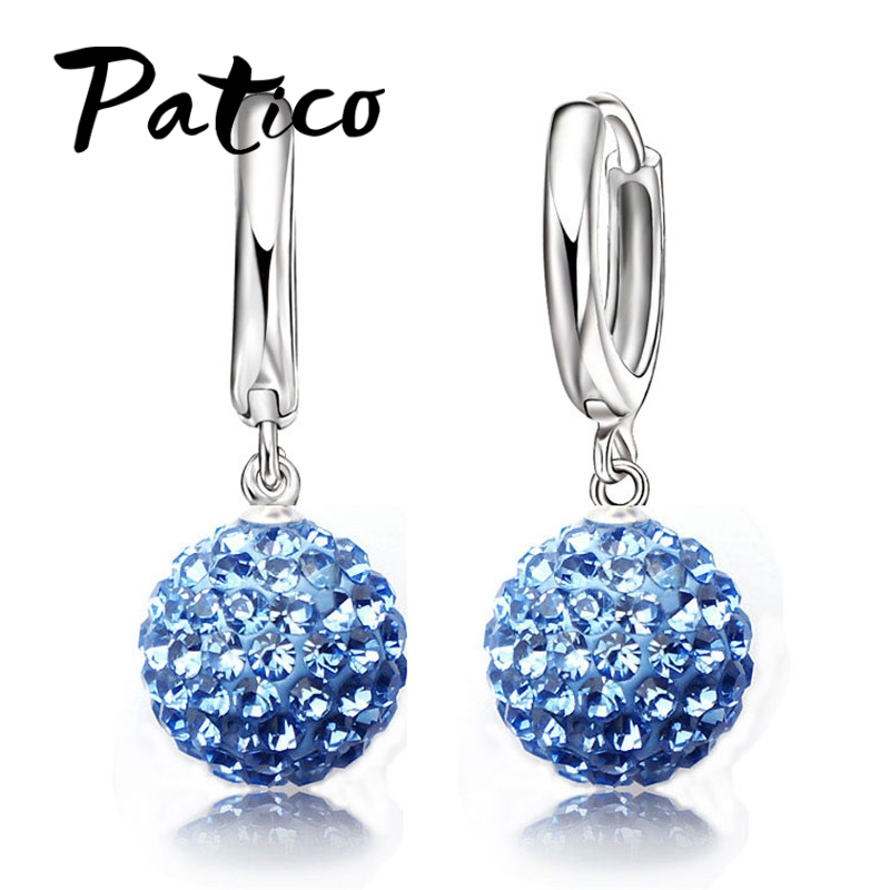 Hot Sale Multi Colors 1 Pair Real Pure 925 Sterling Silver Austrian Pave Disco Ball Hoop Lever back Earring Woman Jewelry(China)