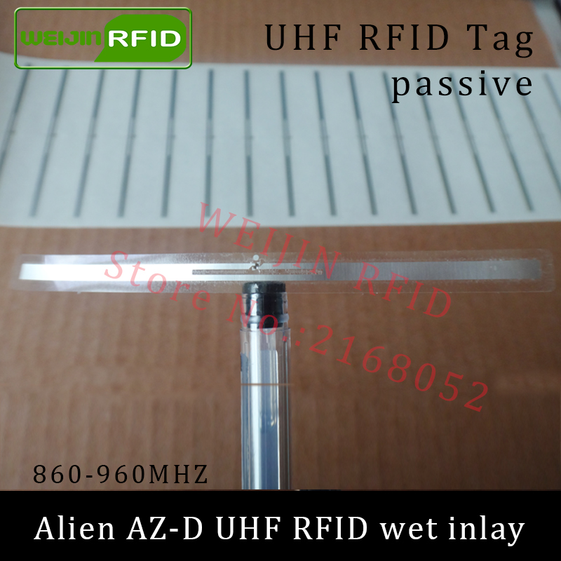 UHF RFID tag Alien AZ-D dry inlay 915mhz 900mhz 868mhz 860-960MHZ Higgs3 EPC C1G2 ISO18000-6C smart card passive RFID tags label 1000pcs long range rfid plastic seal tag alien h3 used for waste bin management and gas jar management