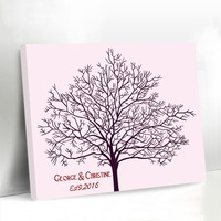Exquisite Fingerprint Wedding Tree Canvas Guest Book Customized Names and Dates Engagement Anniversary Wedding Party Decorations