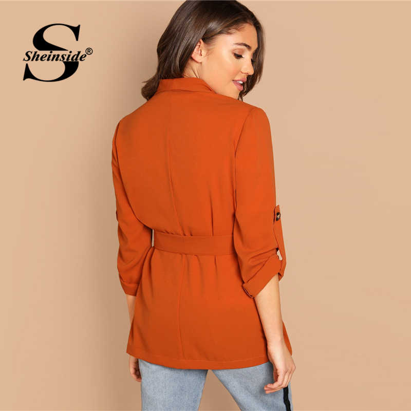 eb35a244d7 ... Sheinside Orange Office Ladies Blazer & Suits Roll Up Sleeve Double  Breasted Coat Belted Outerwear Women ...