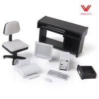 1/12 Dollhouse Miniature Furniture Computer Desk Chair Printer Set