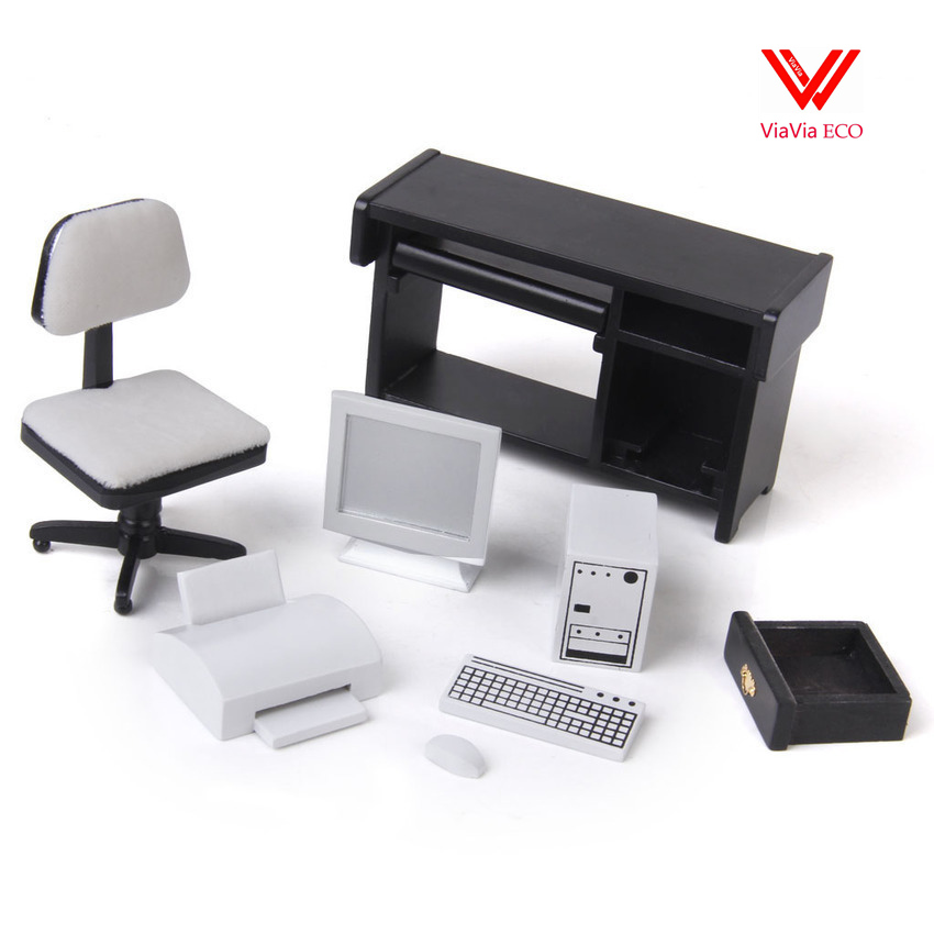 oMoToys 1:12 Dollhouse Miniature Furniture Computer Desk Chair Printer Set