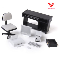 oMoToys 1:12 Dollhouse Miniature Furniture Computer Desk Chair Printer Set