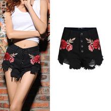 ZHANGCHUNHUA Vintage Floral Embroidery Shorts Women Flower Red Embroidered Shorts No Stretch High Waist Jeans Black Short Female