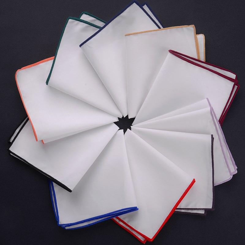 Fashionable Men's Dense Side White Pocket Towel Suit Accessories Handkerchief Square Towel Cotton Colored Edge Scarf