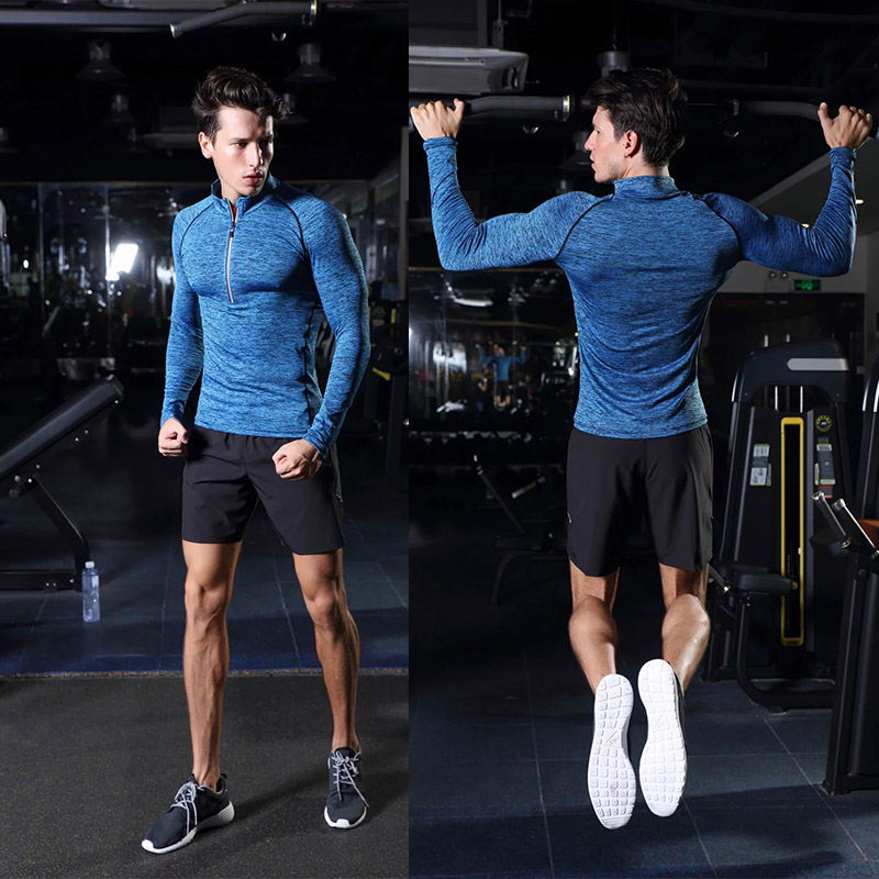 2017 Men lycra Patchwork Sports Compression Tight Gym Clothing Fitness Training T-shirt Running Bodybuilding Long Sleeve T Shirt