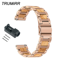 Nature Wood & Stainless Steel Watchband 20mm for Garmin Vivoactive3/Vivomove/Forerunner 645 Music Quick Release Strap Watch Band