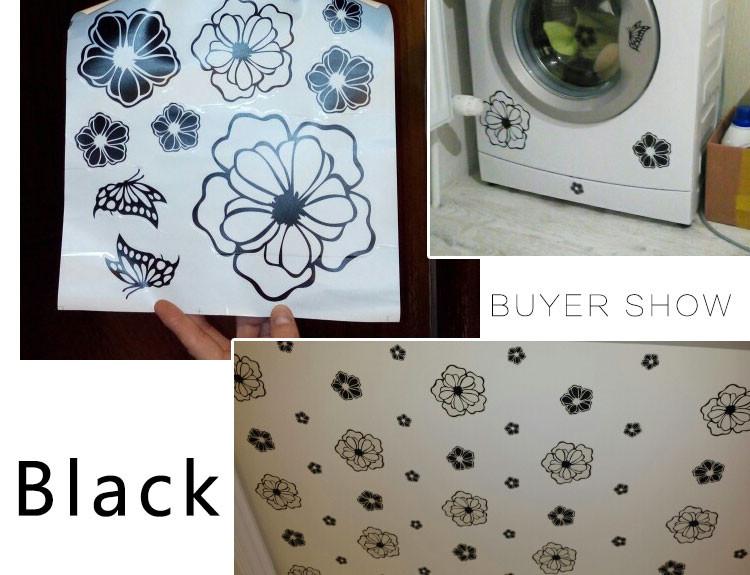 HTB1tgXZKFXXXXcNaXXXq6xXFXXXM - High Quality Household Washing Machine Refrigerator Stickers Flowers Butterflies Wall Stickers Home Decor For Kitchen Bathroom