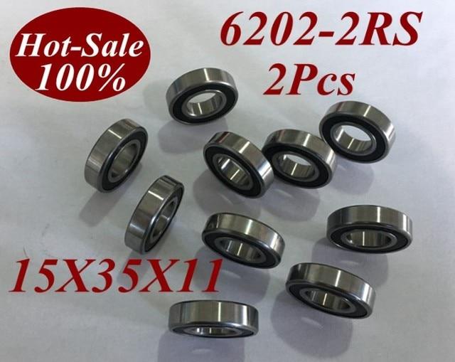 2 Pcs 6202RS 6202-2RS 6202 2RS 6202RZ 6202-2RZ 15X35X11mm Miniatura Rolamentos de Skate Scooter de Skate bola rolamento de rolos