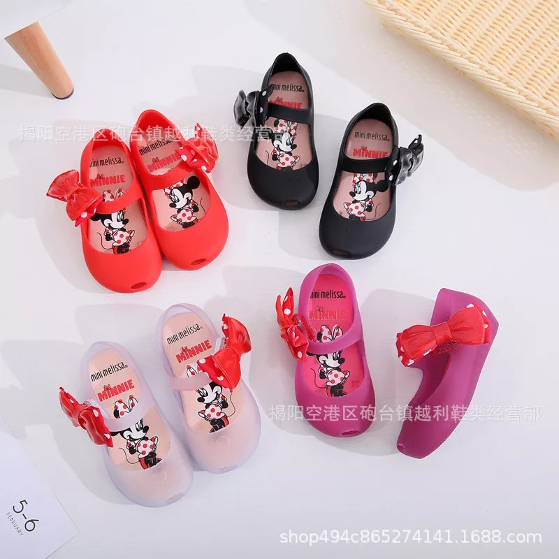 mini melissa jelly shoes for girls with mickey bow kids sandalia infantil