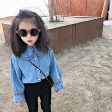 Girl Baby Spring and Korean Version Foreign Pearl Button Shirt Childrens Doll Collar Denim