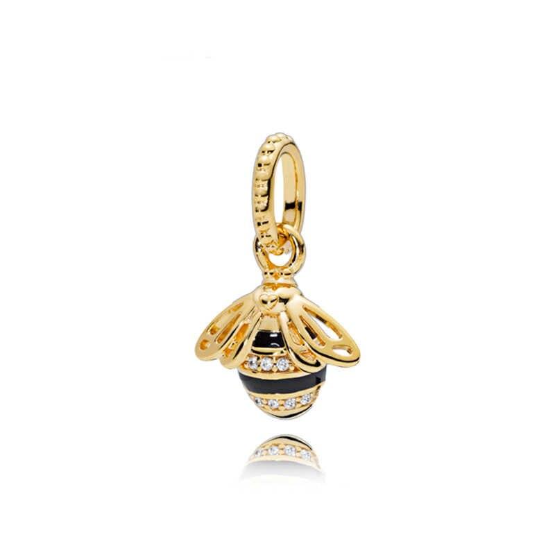 Prosty styl różowe złoto/złoty kolor Hollow serce z kwiatkiem wisiorki koraliki Fit Pandora bransoletki bransoletki Making biżuteria urodziny prezenty