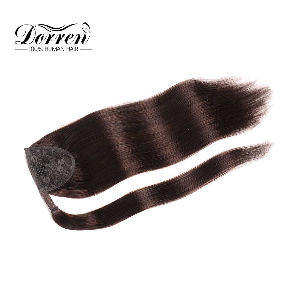 """Dorren kucyk włosy doczepiane clip in maszyna stworzona Remy proste włosy ludzkie sztuk czekoladowy brąz 100 gramów 16 """"18"""" 20"""""""