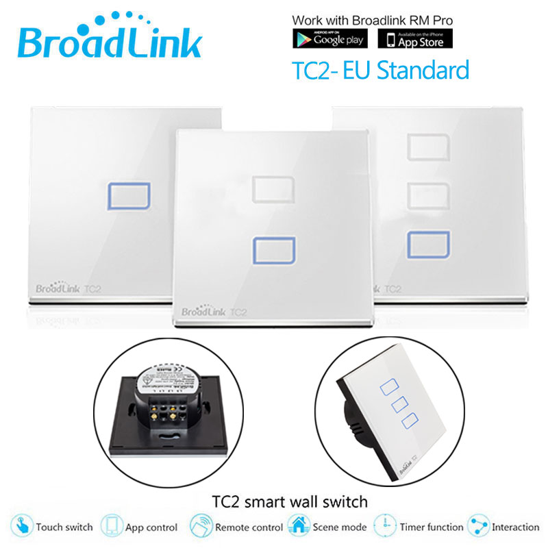 Broadlink TC2 EU Switch 1Gang 2Gang 3 Gang Touch Switch Smart Home Automation Wireless Remote Control LED Lights Wall Switch
