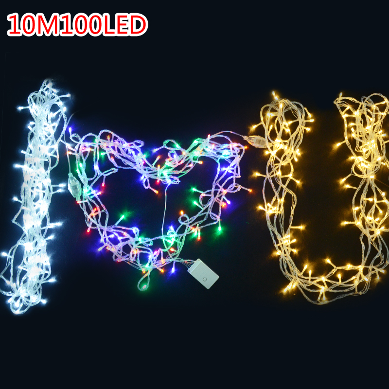 Us 4 62 15 Off Galand Led Christmas Lights Outdoor 10m 20m 30m 40m 220v 110v Waterproof Led String Eu Us Rgb Fairy Light With Tail Plug In Led