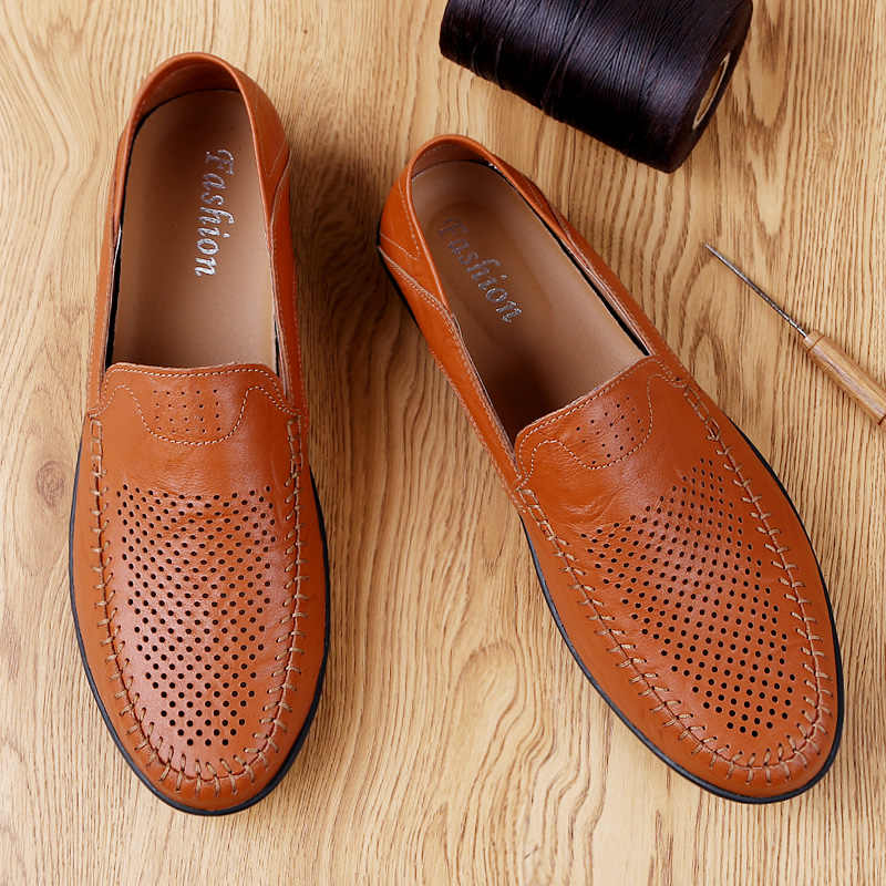 New Genuine Leather Men Casual Shoes Luxury Brand 2019 Men Loafers Moccasins Breathable Slip on Black Driving Shoes Big Size