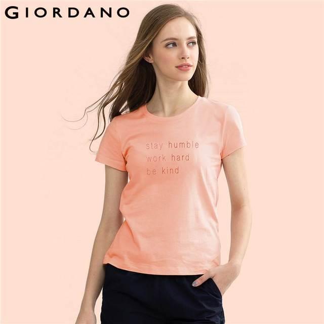 Giordano Women T-shirt Graphic Tees Roupas Femininas 2017 Tshirts Cotton Women Crewneck Tee Casual T Shirt Short Sleeve Tops