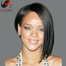 Fashion Rihanna Wig Human Hair Short Bob U Part Wigs Rihanna Bob Hairstyle Unprocessed U Part Human Hair Bob Wig for Black Women