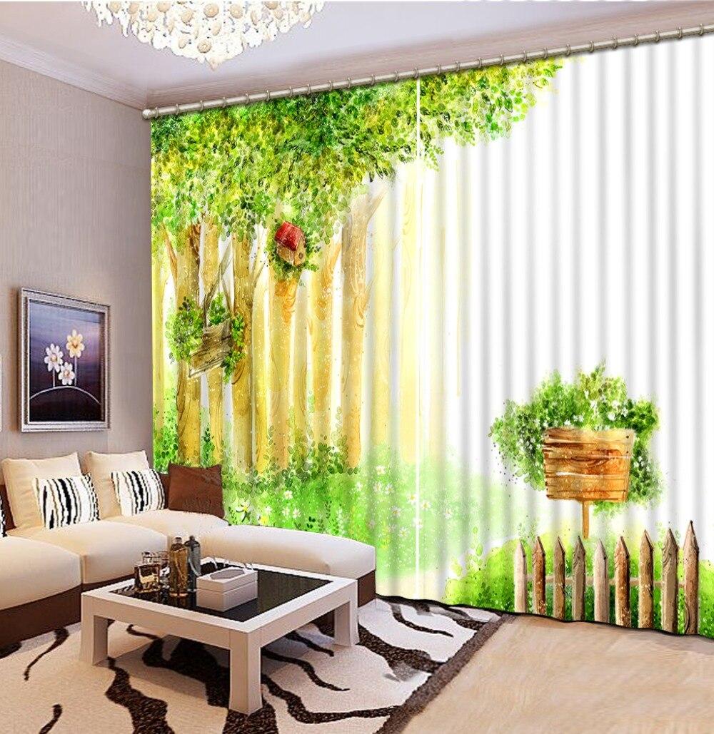 3D rideaux fenêtre forêt salon chambre décoration mariage luxe européen rideaux 3D rideaux