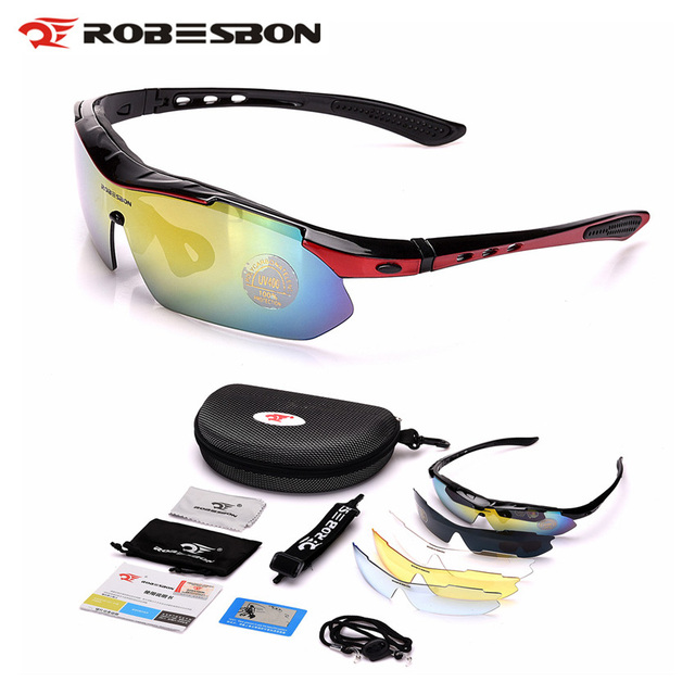 77c4537699a ROBESBON Polarized Cycling Glasses MTB Bike Outdoor Sports Bicycle  Sunglasses Goggles 5 Lenses Eyewear Occhiali Ciclismo
