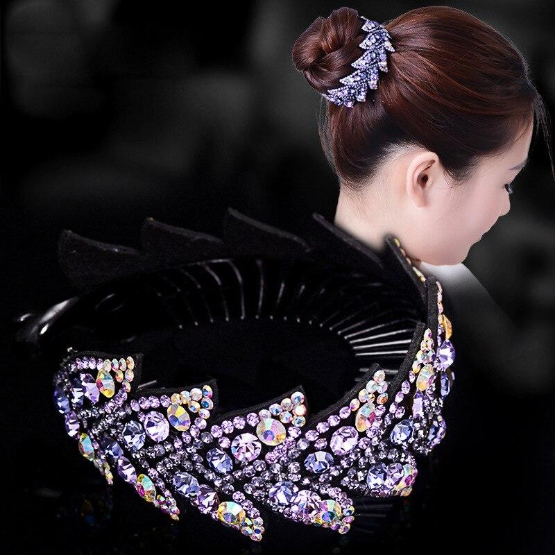 AWAYTR Fashion Rhinestone Flower Hair Claws Women Hair Accessories Girls Hairpin Headwear Bird Nest Floral Twist Clip 10 Colors