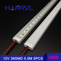 5 pcs * 50 cm Cozinha especialista luz DC12V 36 SMD 5050 LED Disco Rígido LED Strip Bar Luz + U alumínio + tampa plana