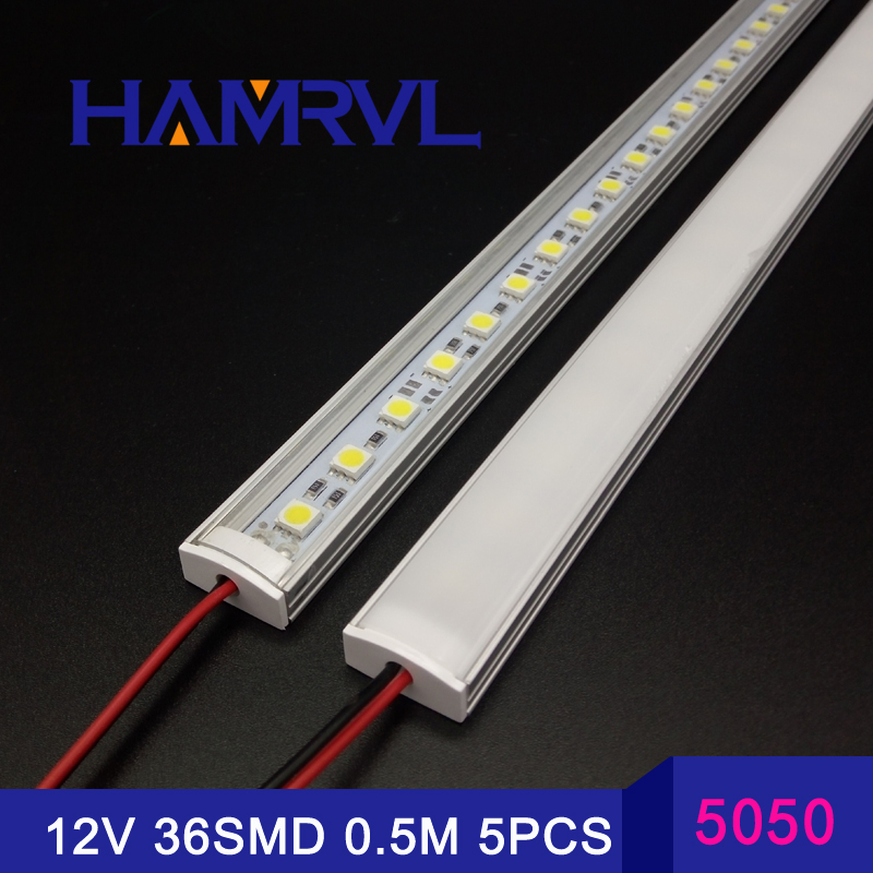 5pcs*50cm Kitchen light expert DC12V 36SMD 5050 LED Hard Rigid LED Strip Bar Light +U aluminium+flat cover 5050 led rigid strip