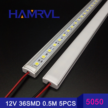 5pcs*50cm Kitchen light expert DC12V 36SMD 5050 LED Hard Rigid LED Strip Bar Light +U aluminium+flat cover 5050 led rigid strip