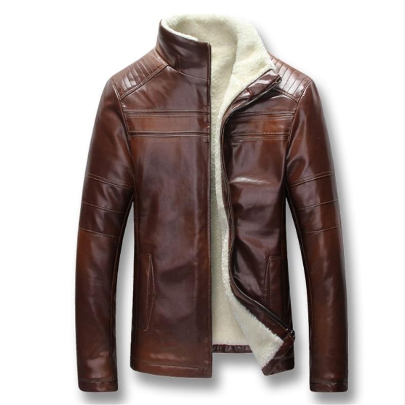 Homens Outono Inverno de Lã Grossa PU Jaquetas De Couro Casacos Hombre Masculina Moda Casual Slim Fit Tamanho Grande Jaquetas Zip Homens casaco - 2