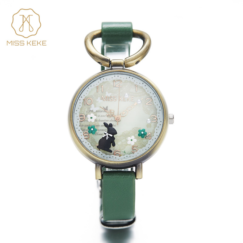 MISS KEKE Fashion Lady Bracelet Watches Women Girl Retro 3D Cute Rabbit Quartz Dress Watches Vintage