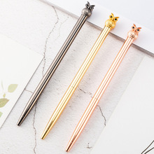 Kawaii Rose Gold Metal Owl Ballpoint Pen Creative Luxury Brand Writing Handle Pens for Girl Gift Nice Office Stationery Supplies