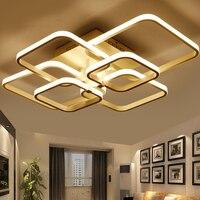 Modern AC85 265V Remote Cotrol LED Chandelier Square Rings Chandelier For Living Room Bedroom Home Lighting Fixtures