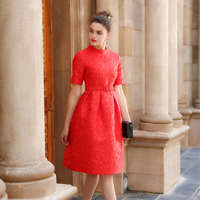 2017 New Arrivals Women Long Dress Evening Party Gowns Empire Waist Red Solid Color Summer Dresses