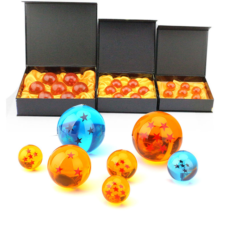7pcs/set Dragon Ball Z 7 Stars Crystal Ball DragonBall 3 Sizes Selectable Action Figures Box Packaged Free Shipping Gifts