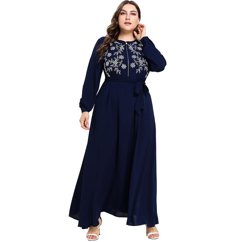 Plus Size Embroidery Long Sleeve Zipper Up Nursing Dress 2019 Women Spring Autumn Long Self-belt Maxi Long Muslim Abaya XXXL 4XL