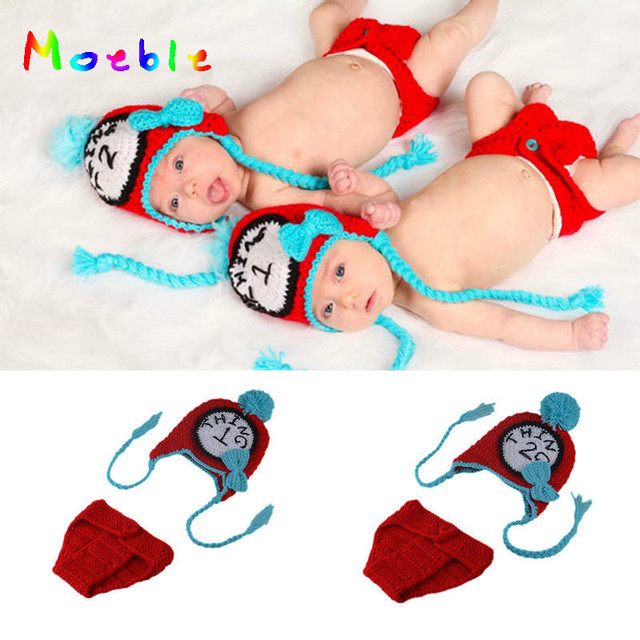 85475e609 Unisex Newborn Baby TWINS Photography Props Crochet Baby Earflap Hat&diaper  Set Knitted Twins Clothing Set For Photo MZS-16014