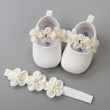 Повязка на голову; комплект из хлопковой обуви с цветочным принтом на мягкой подошве для новорожденных; обувь на крестины для маленьких девочек; обувь для крещения; Fille; милая обувь цвета слоновой кости для первых шагов