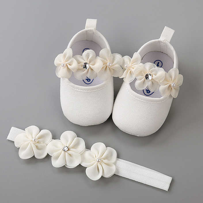 Headband Cotton Soft Sole Flower Shoes Set For Newborn Baby Girl Christening bed Shoes Baptism Fille Cute Ivory First Walkers
