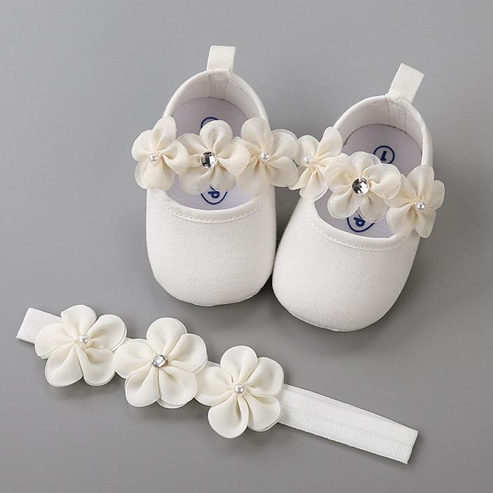 Повязка на голову, хлопковая мягкая подошва, Цветочный комплект обуви для новорожденных, девочек, крестины, кровати, обувь для крещения, дев...
