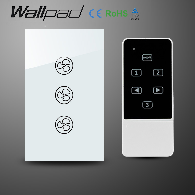 Wallpad 118 US AU Standard Crystal Glass White Wireless Remote control wall Fan touch switch,Wifi Fan Speed Switch,Free Shipping wall light free shipping remote control touch switch us standard remote switch gold crystal glass panel led 50hz 60hz