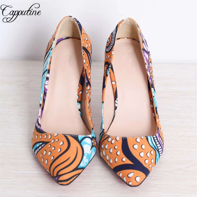 African Fashion Wax Fabric HandMade Shoes And Bag Set High Quality Elegant Pumps 10CM Shoes And HandBag To Match For Partie G58 2