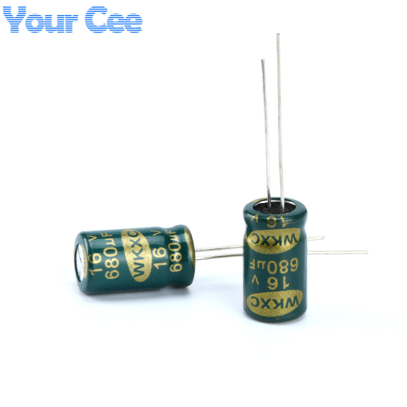 100 pcs Electrolytic Capacitors High Frequency 16V 680UF Aluminum Electrolytic Capacitor image