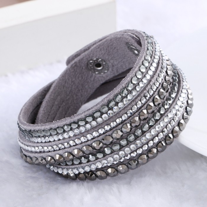 2017 New Leather Bracelet Rhinestone Crystal Wrap Multilayer Bracelets For Women Pulseras Mulher Jewelry In From