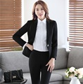 Novelty Black Professional Business Work Wear Suits With Jackets And Pants Female Trousers Set Pantsuits Uniforms Outfits