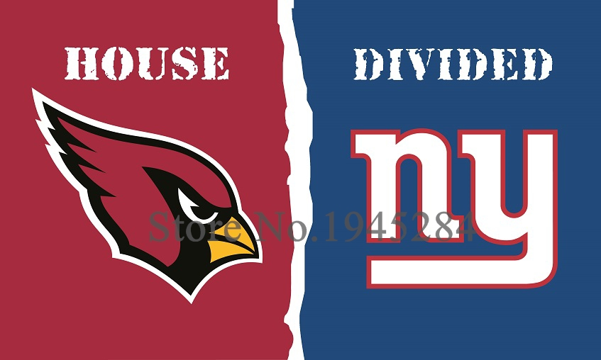 NFL Arizona Cardinals New York Giants House Divided Flag 3x5ft 150x90cm Polyester Flag Banner, free shipping