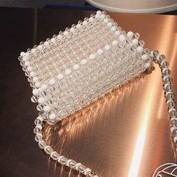 Luxurious Clear Beaded Bags for Women Handbag Ladies Phone Bag Purse Elegant Transparent Acrylic Beading Shoulder Bags