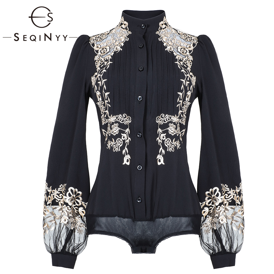 SEQINYY Embroidery Shirt 2019 Spring Summer Woman's New Vintage Black Lantern Sleeve Pleated Elegant Luxurious Slim Shirt